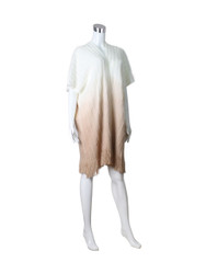 Short Sleeve Knitted Long Cardigan with Tassels Ombre Ivory Beige