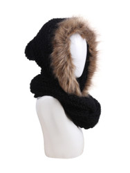 Knitted Hooded Infinity Scarf with PomPom and Faux Fur Trim Black