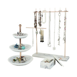 set of 3 rose gold marble organizer stands