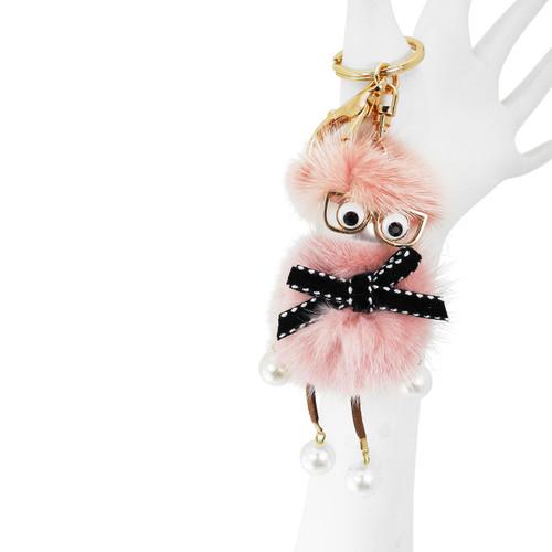 Dangling Chick Bag Mink Fur Pink
