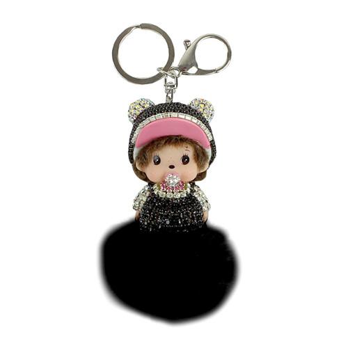 Jeweled Doll Pom Pom Purse Charm Black