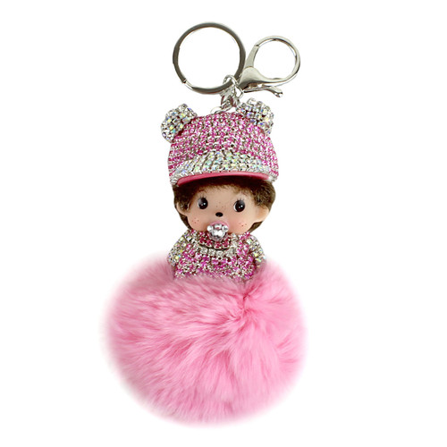 Jeweled Doll Pom Pom Purse Charm Pink