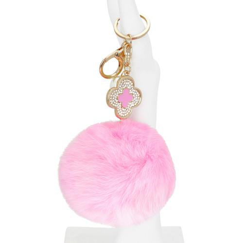 Designer Monogram Flower Pom Pom Purse Charm Pink