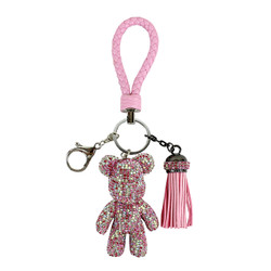 Teddy Bear and Tassel Purse Charm Braided Strap Pink