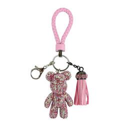 Teddy Bear and Tassel Purse Charm Braided Strap Pink
