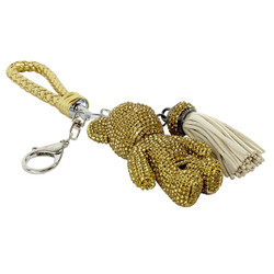 Teddy Bear and Tassel Purse Charm Braided Strap Gold