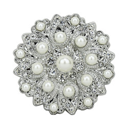 Oversize Vintage Style Silver Brooch or Pendant with Faux Pearls Dual Use