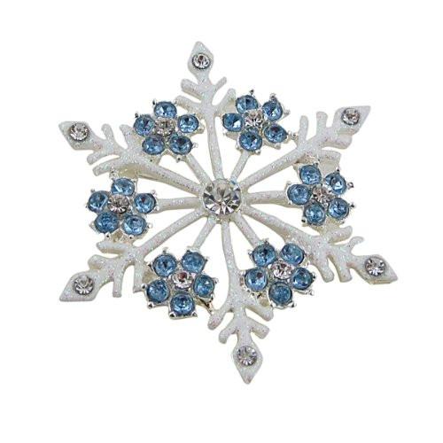 Snowflake Pin Jeweled blue