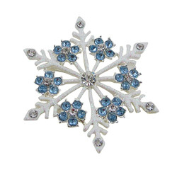 Snowflake Pin Jeweled blue