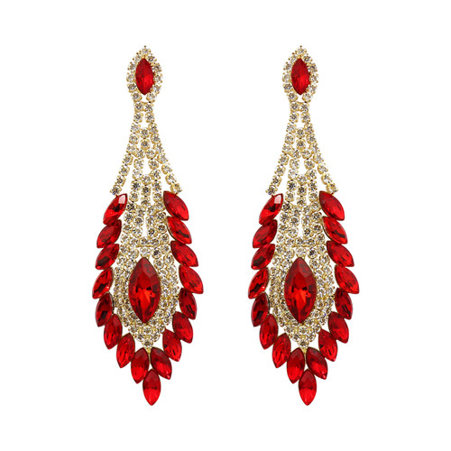 Peacock Feather Chandelier Earrings Cubic Zirconia and Rhinestones Red