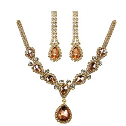 Victorian Style Cubic Zirconia Necklace Earrings Set Rose