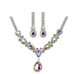 Victorian Style Cubic Zirconia Necklace Earrings Set AB