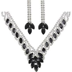 Teardrop Cubic Zirconia Necklace Earrings Set Black