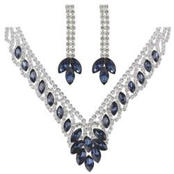 Teardrop Cubic Zirconia Necklace Earrings Set Sapphire