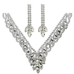 Teardrop Cubic Zirconia Necklace Earrings Set Silver