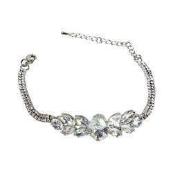 Cubic Zirconia and Crystals Link Bracelet Silver