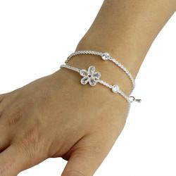 Cubic Zirconia Flower Layered Bracelet Long Chain Silver