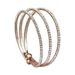 Rhinestone 3-Row Cuff Bracelet Rose Gold