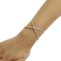 Criss Cross Rhinestone Cuff Bracelet Gold Tone