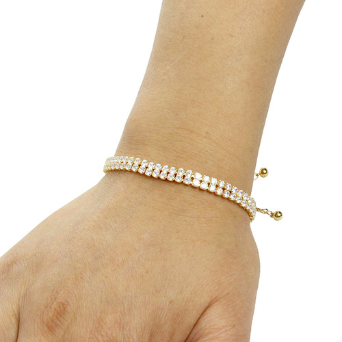 2 Row Cubic Zirconia Tennis Slider Bracelet Gold