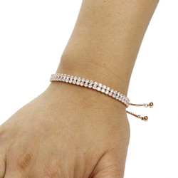 2 Row Cubic Zirconia Tennis Slider Bracelet Rose Gold