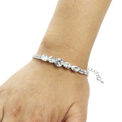 Round-cut and Pear-Cut Cubic Zirconia Tennis Chain Bracelet Silver