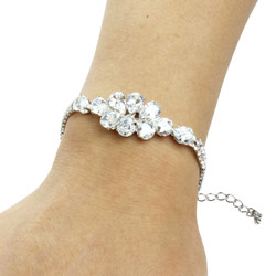 Pear-cut Cubic Zirconia Tennis Chain Bracelet Double Row Silver