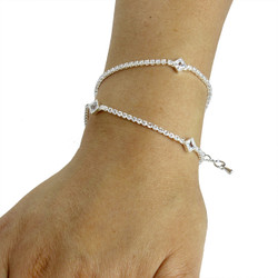 Cubic Zirconia Diamond Shape Layered Bracelet Long Chain Silver