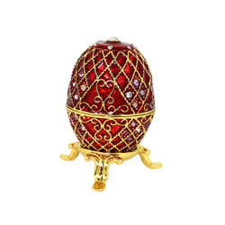 Faberge Style Jeweled Egg Trinket Box Red and Gold
