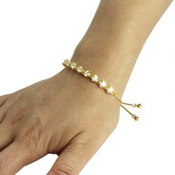 Round-Cut Cubic Zirconia Friendship Slider Bracelet Gold