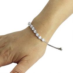 Round-Cut Cubic Zirconia Friendship Slider Bracelet Silver
