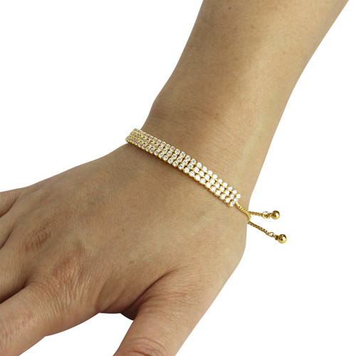3 Row Cubic Zirconia Tennis Slider Bracelet Gold