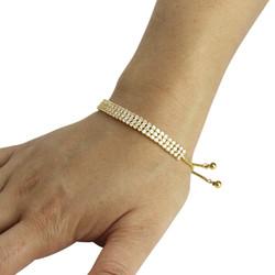 3 Row Cubic Zirconia Tennis Slider Bracelet Gold
