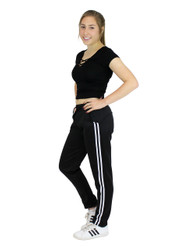Fleece Lined 2-Stripes Sports Pants Black and White