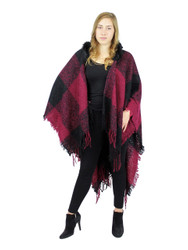 Hooded Checker Shawl Wrap Faux Fur Trimmed Burgundy