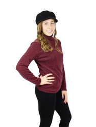 Shimmer and Shine Turtleneck Long Sleeve with Fleece Burgundy Size L