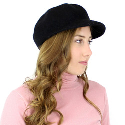 100% Wool Newsboy Cap Hat Black