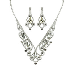 Vintage Style Elegant Necklace Earrings Set Cubic Zirconia Silver