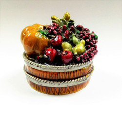 Fruit Basket Trinket Box Enameled Pewter