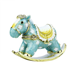 Miniature Rocking Horse Trinket Box Bejeweled Blue