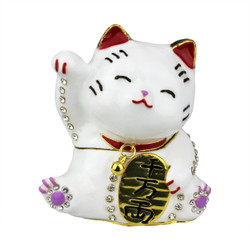Maneki Neko Trinket Box Bejeweled Japanese Money Lucky Cat