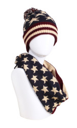 Old Glory American Flag Knitted Hat Infinity Scarf Set