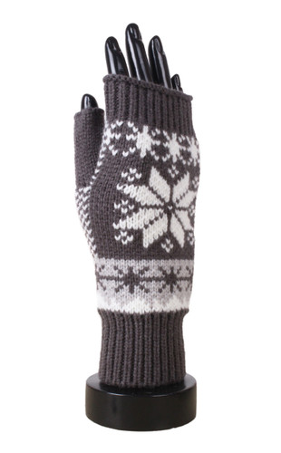 Knitted Snowflake Open Finger Mittens Gloves Grey