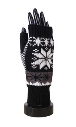 Knitted Snowflake Open Finger Mittens Gloves Black