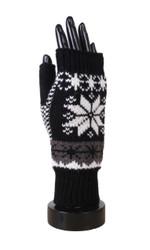 Knitted Snowflake Open Finger Mittens Gloves Black