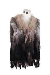 Ombre Rex Rabbit Fur Vest Grey