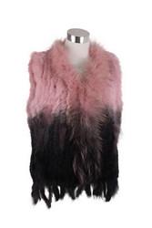 Ombre Rex Rabbit Fur Vest Pink