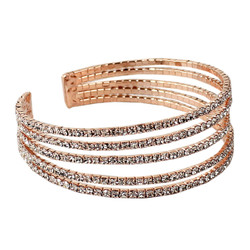 Rhinestone 5-Row Cuff Bracelet Rose Gold