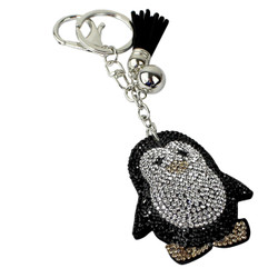 Penguin Rhinestone Keychain with Soft Padded Backing