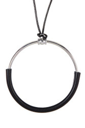 Corded Circle Leather Pendant Necklace Black